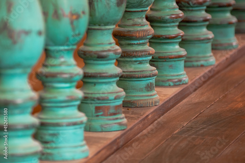 Fotomural Wooden balusters on the old historic railings
