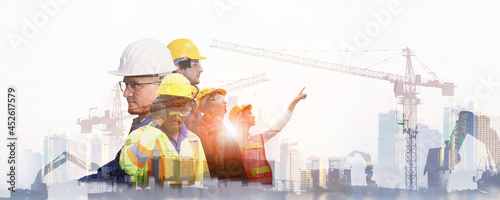 Canvastavla team engineer building construction project  with architect people or construction worker working with modern civil equipment technology, double exposure graphic design