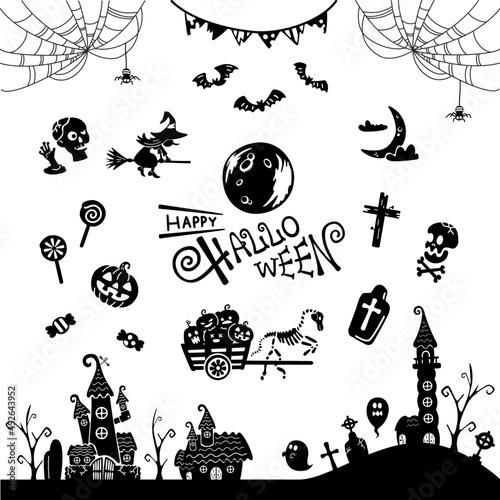 ハロウィンの街並みとお化けやお菓子等のシルエットイラスト集 Fototapet