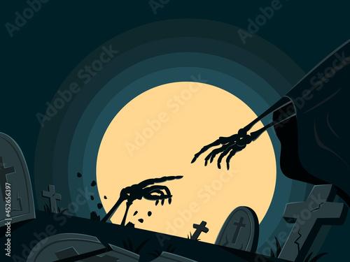 Fotografie, Obraz Skeleton is Resurrecting in Tomb for Halloween Wallpaper.