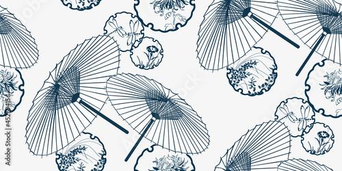 umbrella flower japanese chinese design sketch ink paint style card seamless pat Fototapeta