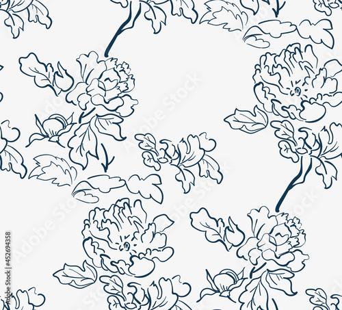 Billede på lærred flower japanese chinese design sketch ink paint style card seamless pattern