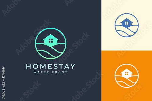 Fotografie, Obraz Beach theme resort or real estate logo with sea wave and circle