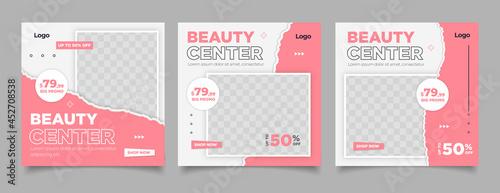 Tableau sur Toile Beauty Center Makeup Social media post Banner Square Flyer Template Design