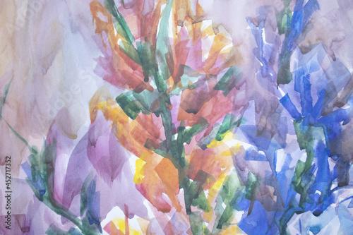 Photo Pretty gladioli watercolor artwork