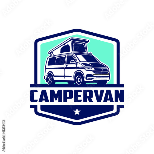 camper van logo isolated vector Fotobehang