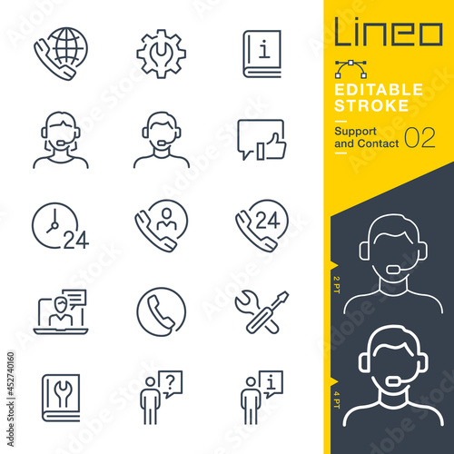 Wallpaper Mural Lineo Editable Stroke - Contact and Support line icons