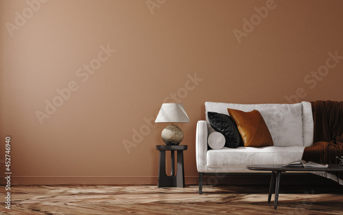 Home mockup, brown warm color living room with sofa and decoration, 3d render