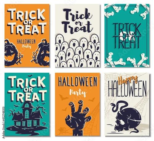 Billede på lærred Halloween background of trick or treat for spooky mystery holiday
