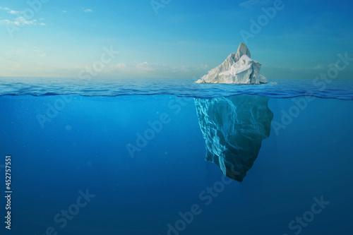 Billede på lærred Iceberg With Above And Underwater View Taken In Greenland