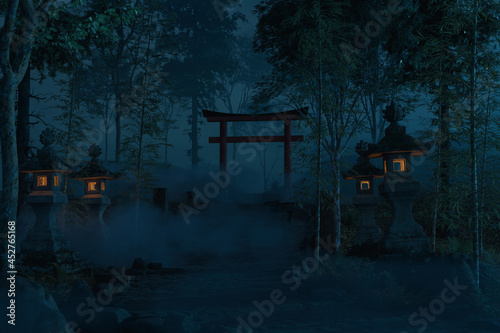 Photo 3d rendering of an old japanese shrine with torii gate and stone lantern at nigh