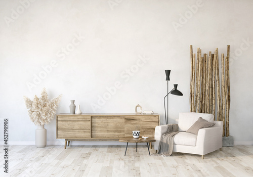 Fotografering modern living room with couch and TV stand, wall mockup in the living room, livi