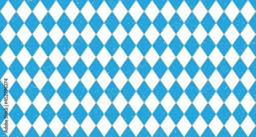Fotografiet Bavarian Oktoberfest seamless pattern with blue and white rhombus Flag of Bavari
