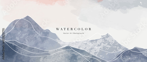 Foto Mountain abstract art watercolor painting background vector