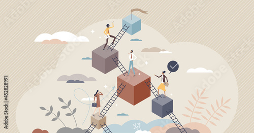 Stampa su Tela Leveling up and career development with progress stairs tiny person concept