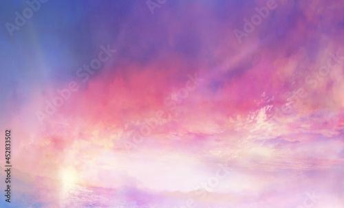 Fotografie, Tablou 朝焼けの雲海の風景イラスト