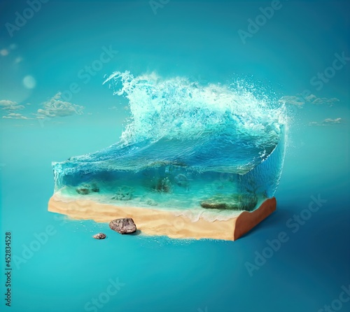 Fotografering 3d illustration with cut of the ground and the beautiful sea underwater