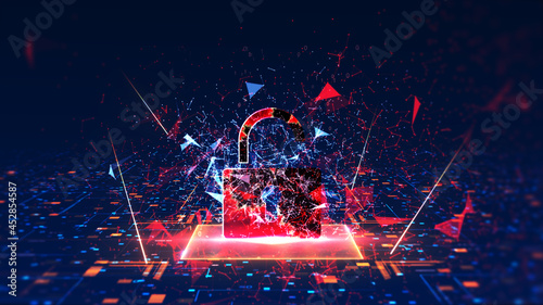 Fotografie, Obraz concept of cyber attack Cyber security is compromised
