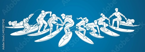 Canvas-taulu Surfing Sport Male and Female Players Cartoon Graphic Vector