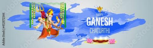 Canvas Print VECTOR ILLUSTRATION FOR INDIAN LORD GANESHA FESTIVAL HAPPY GANESHA CHATURTHI MEANS HAPPY GANESH CHATURTHI