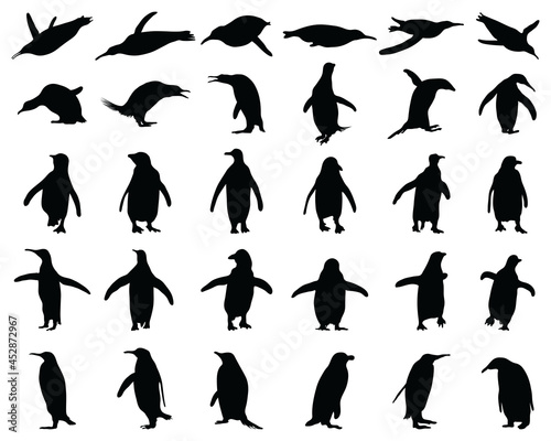 Leinwand Poster Black silhouettes of penguins on a white background