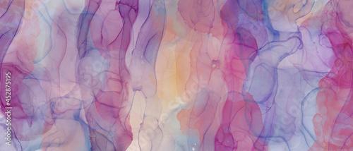 Fotografiet アルコールインクアートの抽象背景)鮮やかな重ね塗り・紫 波 綺麗 マーブリング バナー マルチカラー