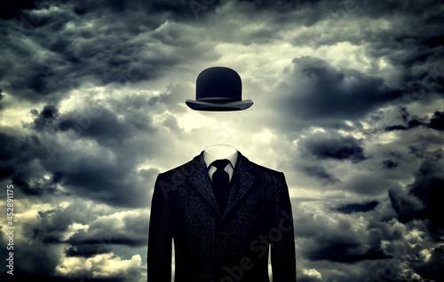 Vászonkép Anonymous businessman with bowler hat