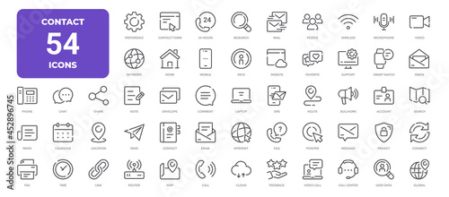 Contact Line Icons. Editable Stroke. Pixel Perfect.