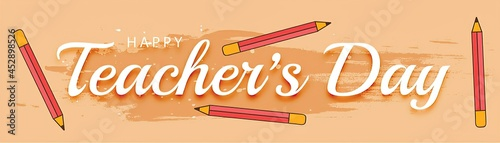 Foto Happy teacher's day background with pencils