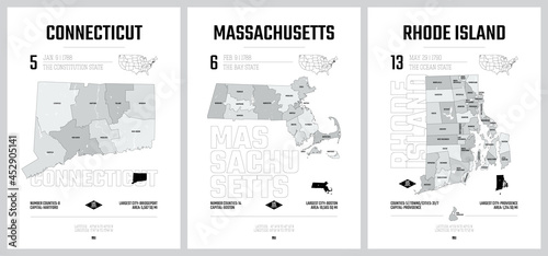 Obraz na plátne Highly detailed vector silhouettes of US state maps, Division United States into
