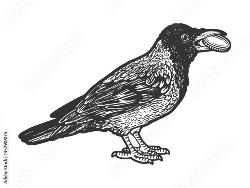 Fotomural Crow with coin in its beak sketch engraving vector illustration