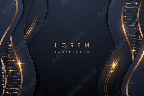 Abstract blue and gold luxury shapes background Fotobehang