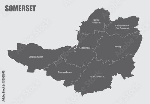 Fototapeta Somerset county administrative map