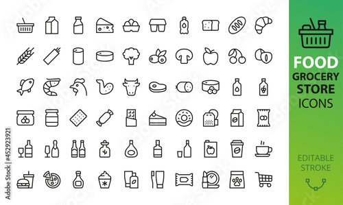 Canvas Supermarket grocery store isolated icons set