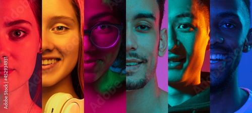 Stampa su Tela Cropped portraits of group of people on multicolored background in neon light
