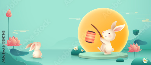 Fotografie, Obraz 3D illustration of Mid Autumn Mooncake Festival theme with cute rabbit character on podium and paper graphic style of lotus lily pond