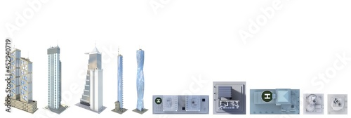 Fototapeta Set of highly detailed abstract skyscrapers with fictional design and cloudy sky