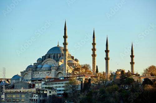 Fotografie, Obraz The Suleymaniye Mosque is an Ottoman imperial mosque in Istanbul, Turkey