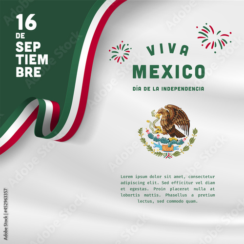 Fototapeta Square Banner illustration of Mexico independence day celebration
