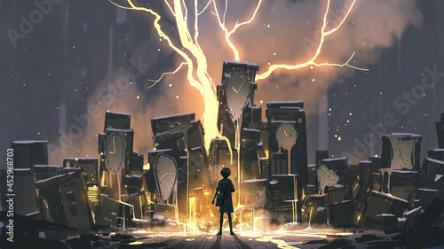 the young girl standing and looking at the clocks that melted into luminous liquid, digital art style, illustration painting