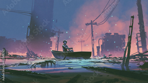 young man sits on a boat looking at the flooded abandoned city, digital art style, illustration painting