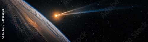 Obraz na plátně Comet, asteroid, meteorite flying to Earth on starry night sky
