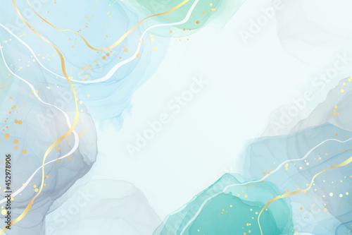 Abstract grey and turquoise liquid watercolor background with golden glitter brushstrokes and lines. Elegant fluid marble alcohol ink drawing effect with golden stains. Vector illustration