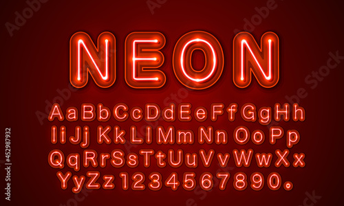Tela Neon city color red font. English alphabet and numbers sign.