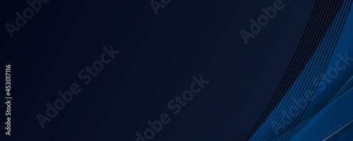 Fotografering 3D modern navy blue abstract banner background