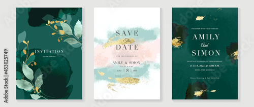 Stampa su Tela Luxury wedding invitation card background  with golden line art flower and botanical leaves, Organic shapes, Watercolor