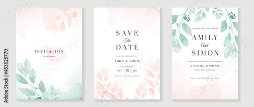 Canvas Luxury wedding invitation card background  with golden line art flower and botanical leaves, Organic shapes, Watercolor