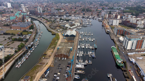 Canvastavla An aerial photo of the Wet Dock in Ipswich, Suffolk, UK
