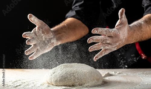 Fotografie, Obraz Clap hands of baker with flour