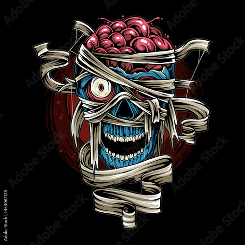 halloween skull mummy with scary bandage as design for halloween day vector Fototapet